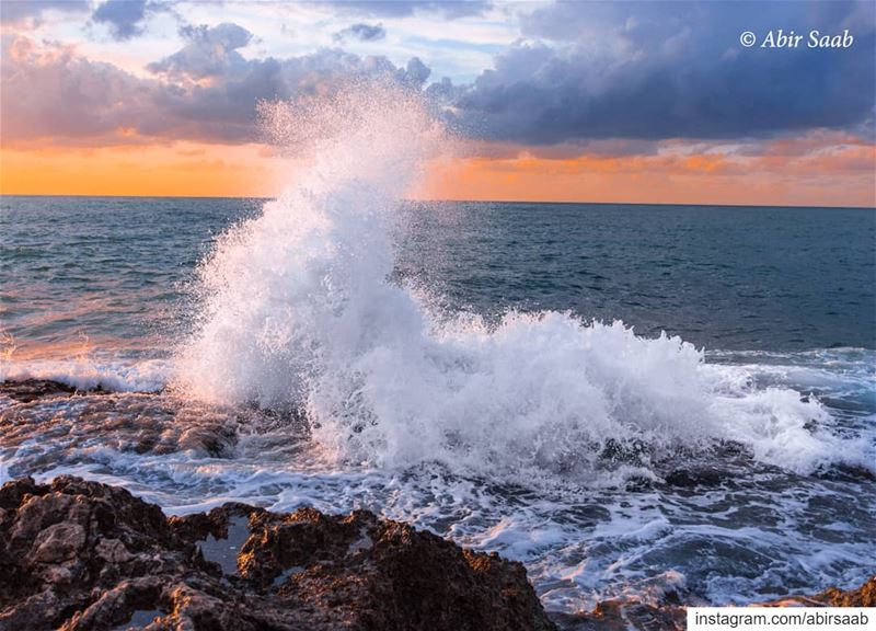 The Seahorse Wave... lebanon sea🌊 seascape skies waves ... (Tabarja)