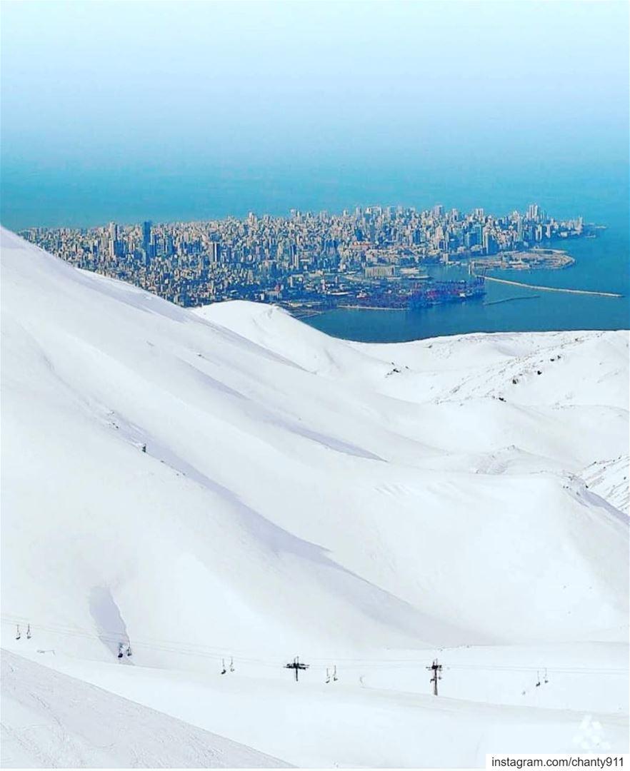 When the snow meets the sea meditation mediterranean instagram ... (Faraya, Mont-Liban, Lebanon)