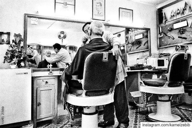 barbershop  barber  priest  haircut  blackandwhite  photography ... (Beirut, Lebanon)