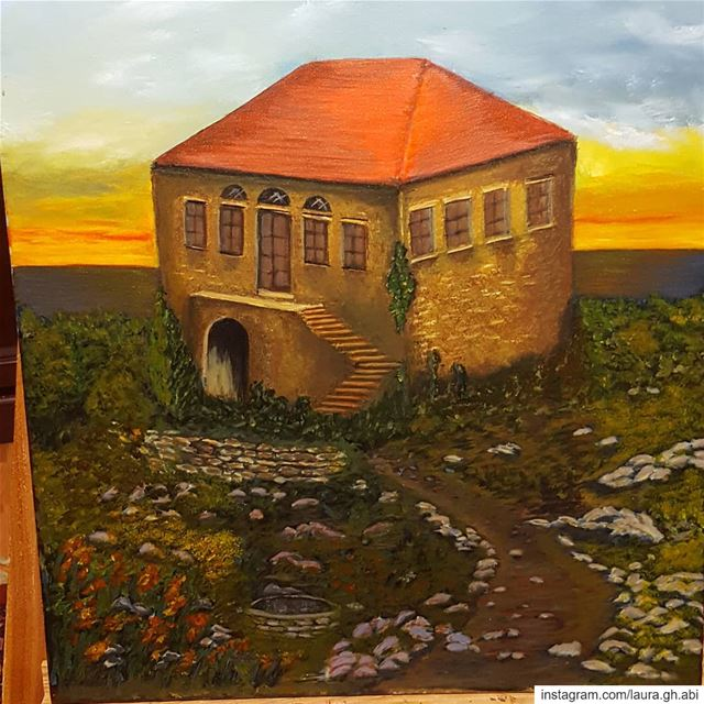 old  house heritage  lebanesestyle  lebanon my  painting  sunset  acrylic...