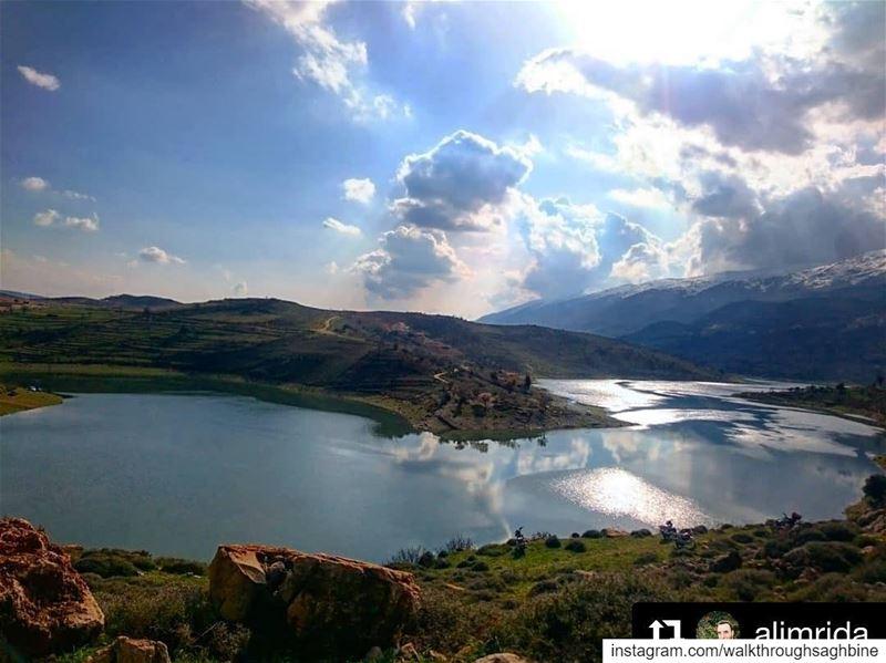Repost @alimrida river litani water sky sun nature green ... (Saghbîne, Béqaa, Lebanon)