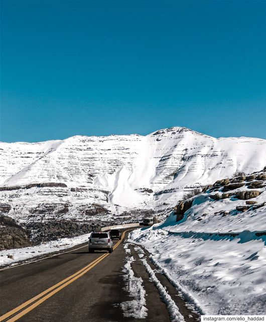 Lebanon  Zaarour  Road  Snow  Sun  Mountains  Sky  Blue  White  Colors ... (Zaarour)