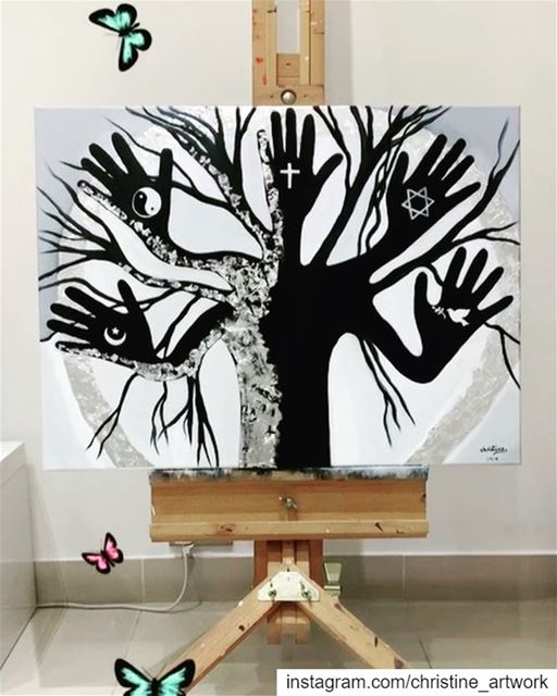 Title :The Tree of Diversity 💚Size: 60cmx80cmMedium: mixed media,...