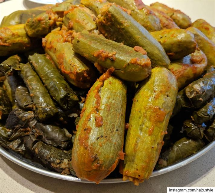 محشي كوس وورق عريش stuffedzucchini  stuffedvineleaves ...