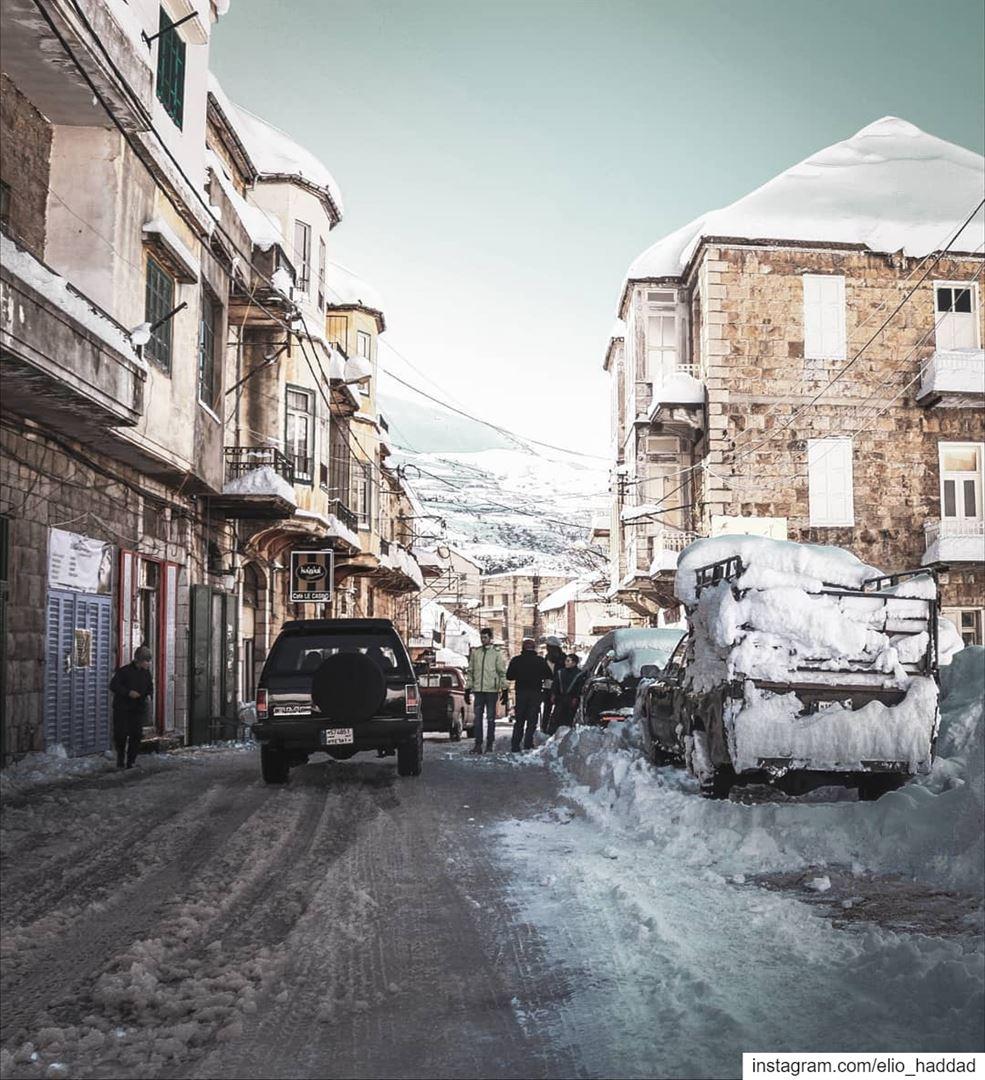 Good Morning ❄️ lebanon 🇱🇧 snow snowing white nature tree road ... (Hasroun)