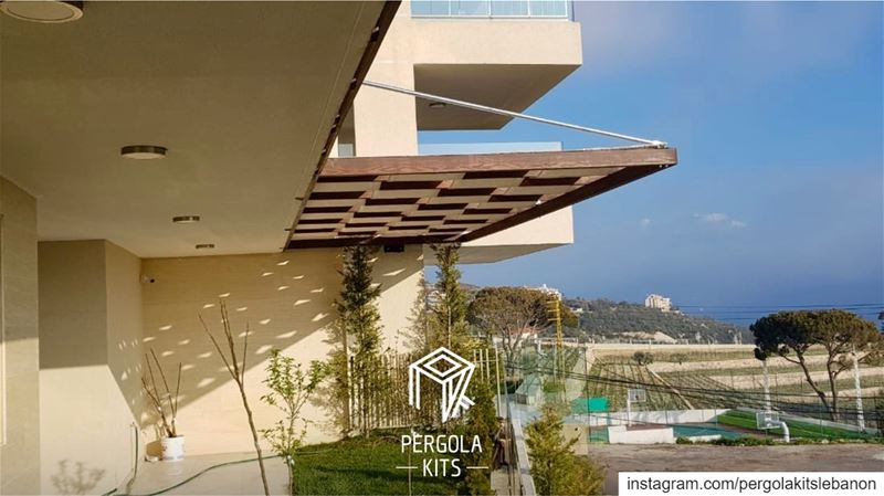 Spring is Coming 🔜 Suspended Wooden Pergola with Fabric Roofing! ... (Mar Musa, Mont-Liban, Lebanon)
