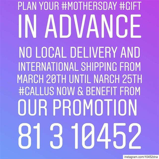 plan your  mothersday  gift in  advance  callus now & benefit from the...