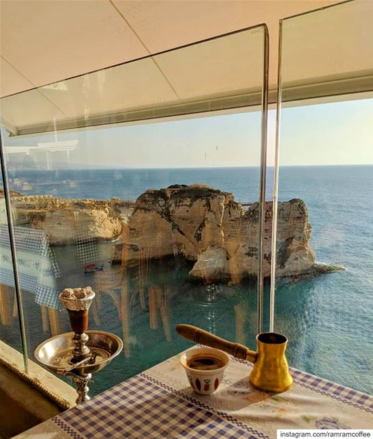 Breathtaking view ☕️💙.... ramramcoffee turkishcoffee ... (Al Falamanki Raouche)