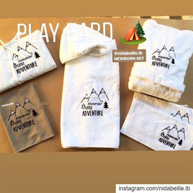 Let s go on an adventure 🏔 new born set ! Write it on fabric by nid d'abei