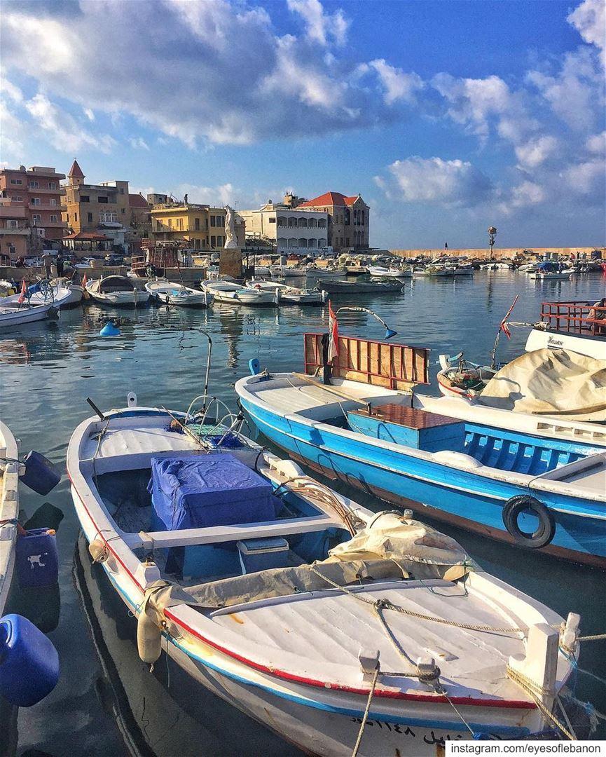 صباح الخير من ميناء صور Credits to @paulrafih Le port le plus ancien du... (Tyre, Lebanon)