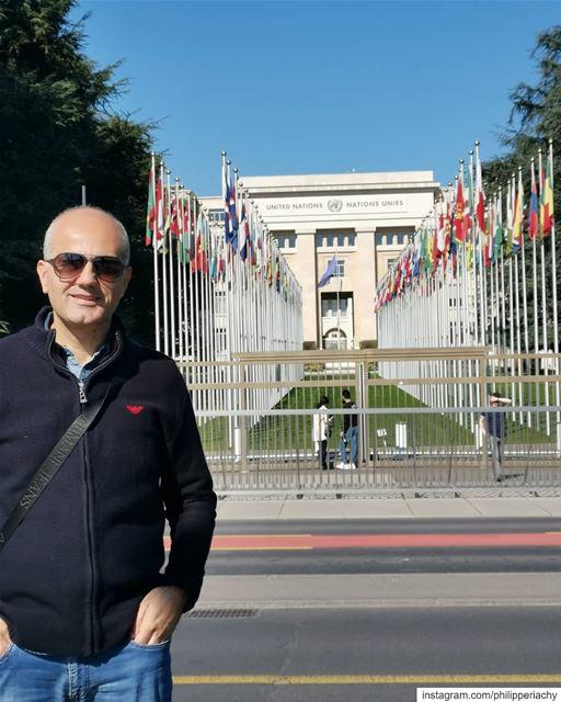 United Nation.أمام مبنى الأمم المتحدة ... unitednations geneva... (United Nations Office at Geneva)
