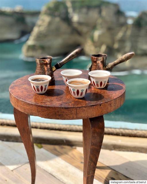 Coffee facing Beirut's landmark. @alfalamanki pigeonrock beirut ... (Al Falamanki Raouche)