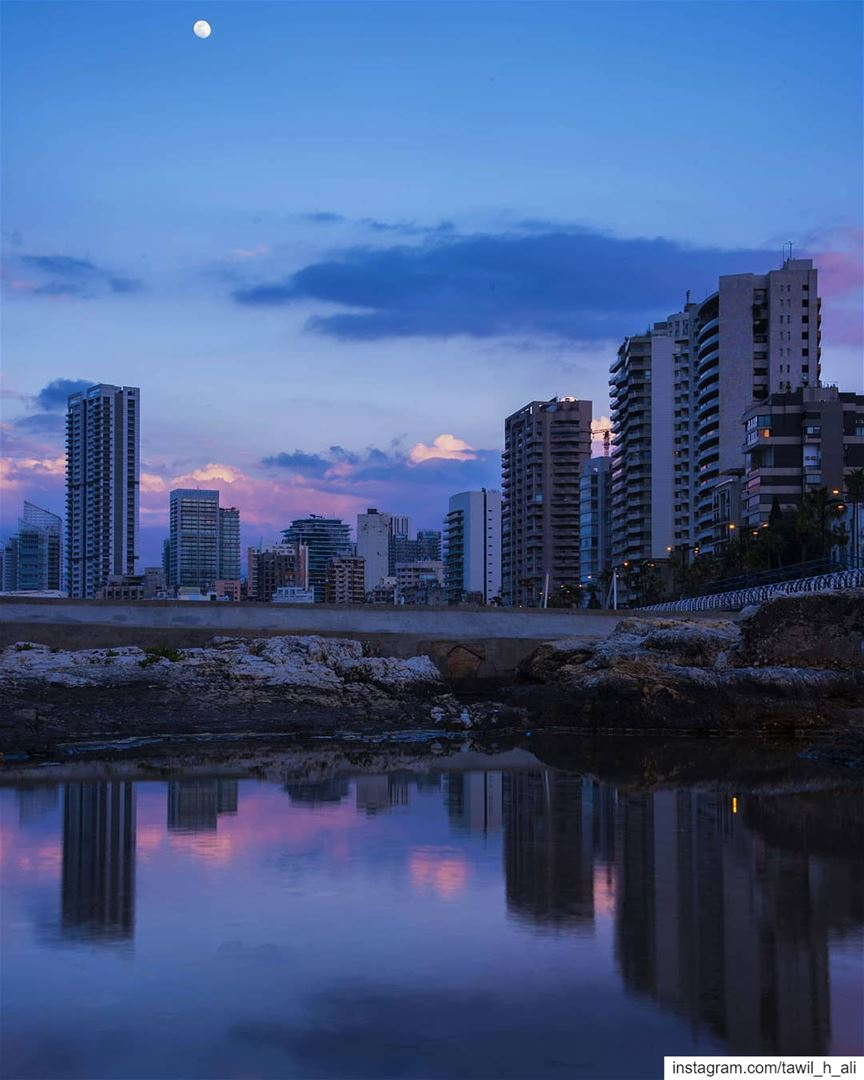 City Reflections 🏙----- sunset sunsetlovers reflection beirut ... (Ain Mraise Beirut)