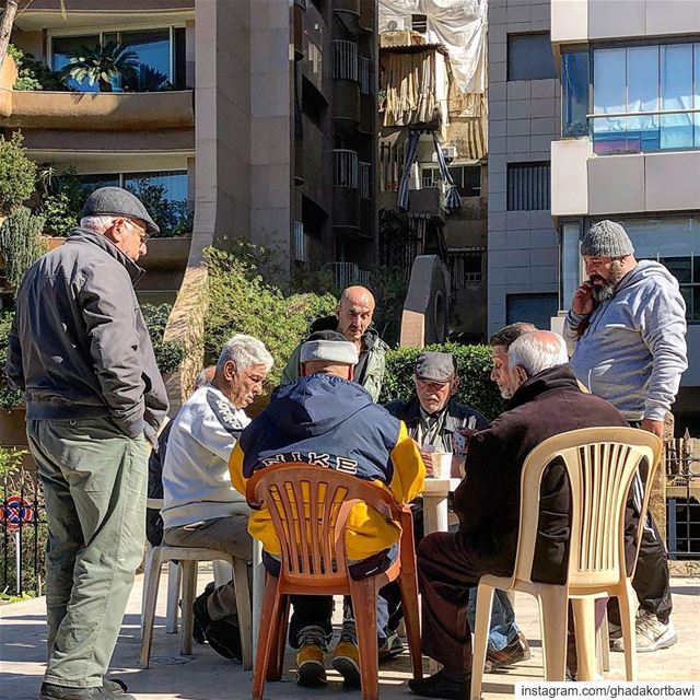 دقّ حامي ☀️.... streetgames gettogether playingcards sunnyday ... (Sanayeh Park)