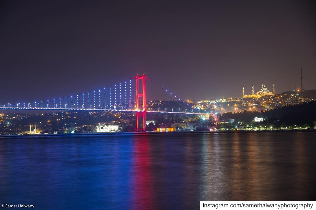 Colored with light! istanbul by night... shot from the bosphorus...