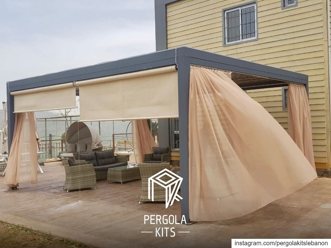 Modern Steel Structure Pergola with Metal Louvers Roofing, Wooden Painted.... (Chouf)