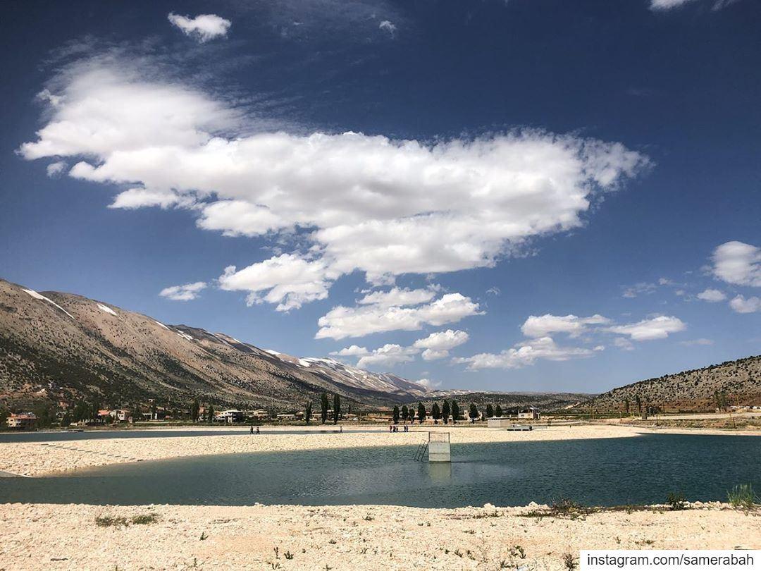 the secret behind lebanese happiness .......... mountains lake ... (El Yammoûné, Béqaa, Lebanon)