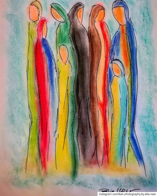 ...Community - مجتمعPastel - 29.7x42 cm mydrawing drawing pastel ... (Fanar, Mont-Liban, Lebanon)