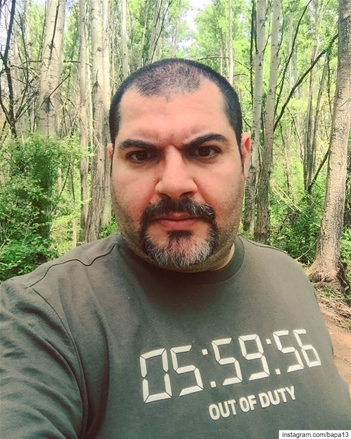 me myself selfie abouja2ra nature green forest trees Taanayel ... (Deïr Taanâyel, Béqaa, Lebanon)