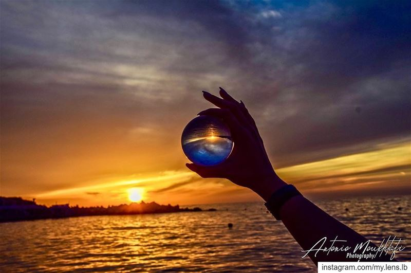 Over the sea and under the sky. sunset lensball lebanon sea sky ... (Tahet el-rih تحت الرّيح)