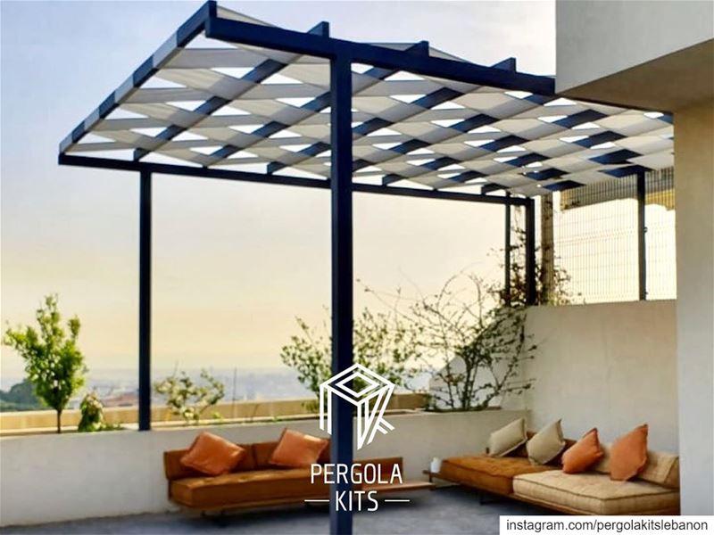 Minimal Steel Pergola with Fabric Roofing! PergolaKitsLebanon in ... (El Hâzmîyé, Liban-Nord, Lebanon)