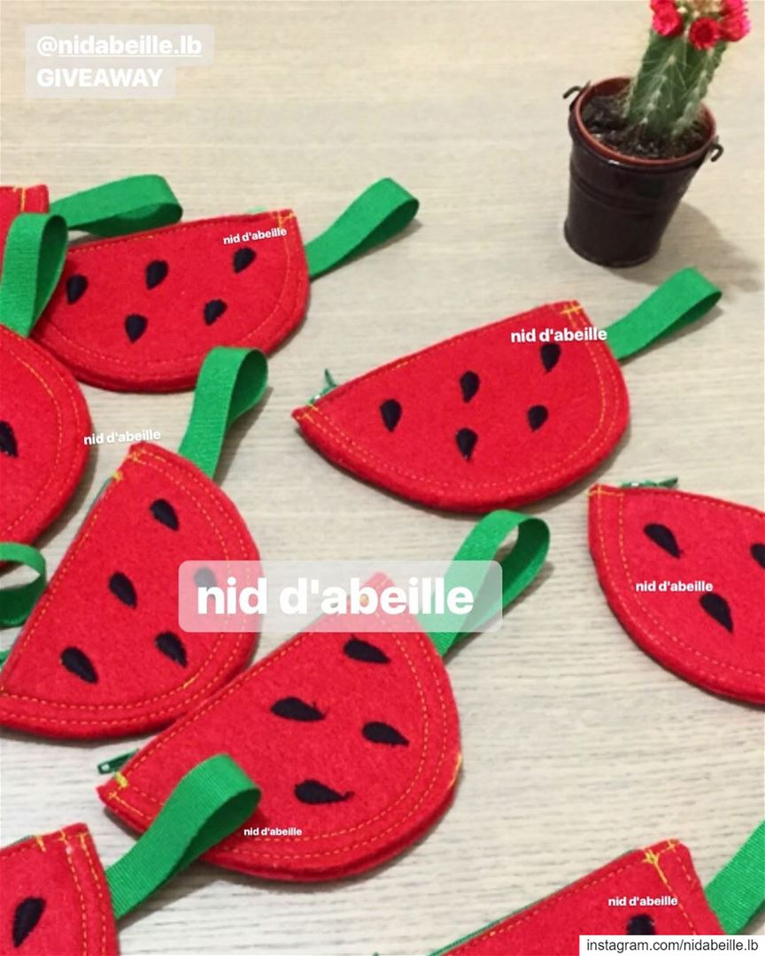 Watermelon 🍉☀️giveaways so yummy 😋 Write it on fabric by nid d'abeille ...