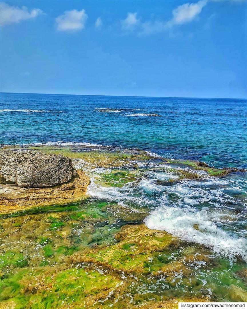🌊⛱️....... byblos jbeil sea rocks waves blue sky beautiful... (Jungle Beach Amch)