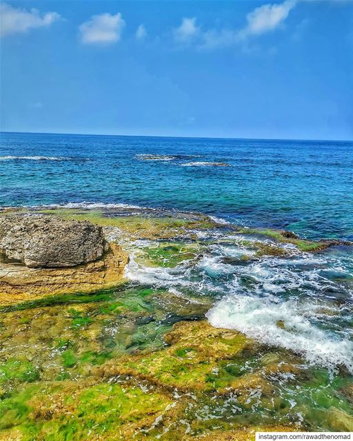 🌊⛱️....... byblos  jbeil  sea  rocks  waves  blue  sky  beautiful... (Jungle Beach Amch)