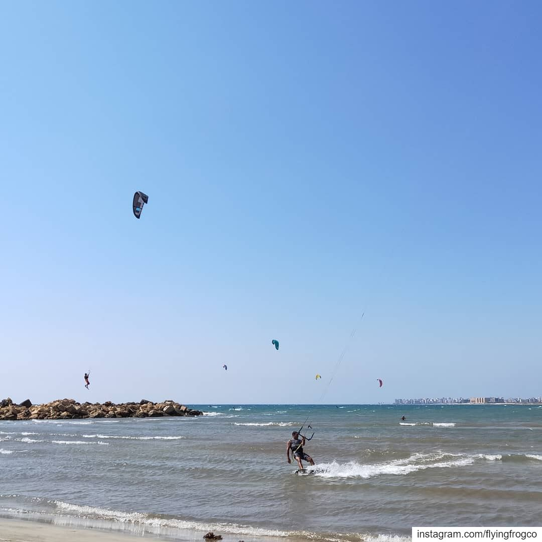 Too windy to be true 🤙🏻Book your kiteboarding lesson now...... (Tripoli, Lebanon)