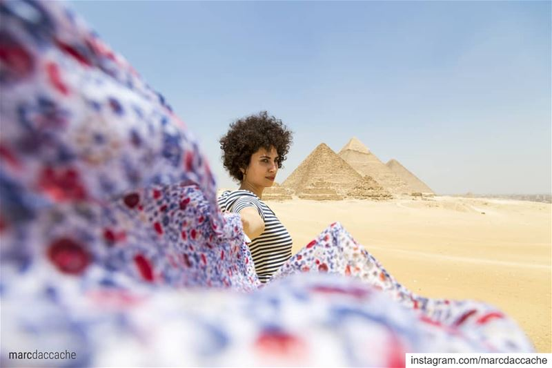 Colors dancing on the wind........ egypt  gizapyramids  natgeo ... (Giza)