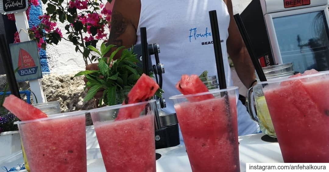 Watermelon 🍉🌞😎 visitanfehFlowka Beach Bar flowkaanfeh70-788117@flo (Anfeh Al-Koura أنفه الكورة)