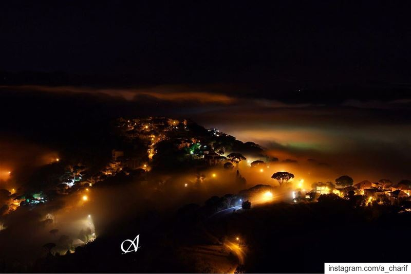 fog cloud sky night light lights longexposure nightphotography ... (Jazzin, Al Janub, Lebanon)