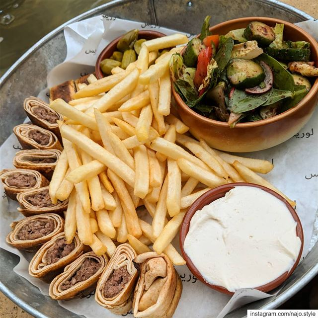 food instafood kaftasandwishes fries homos fattoush yummy delicious...