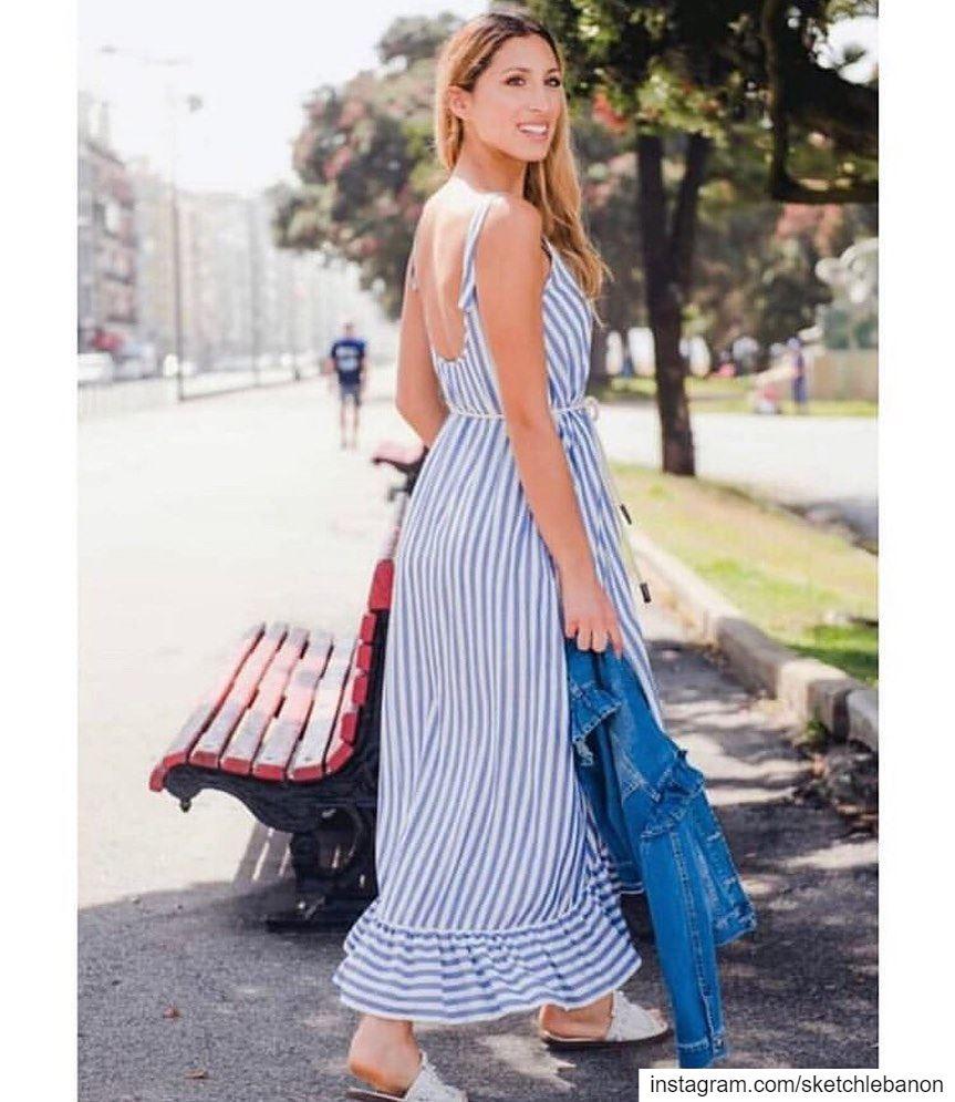 Long striped dress perfect for summer days heat @sketchlebanon ... (Er Râbié, Mont-Liban, Lebanon)