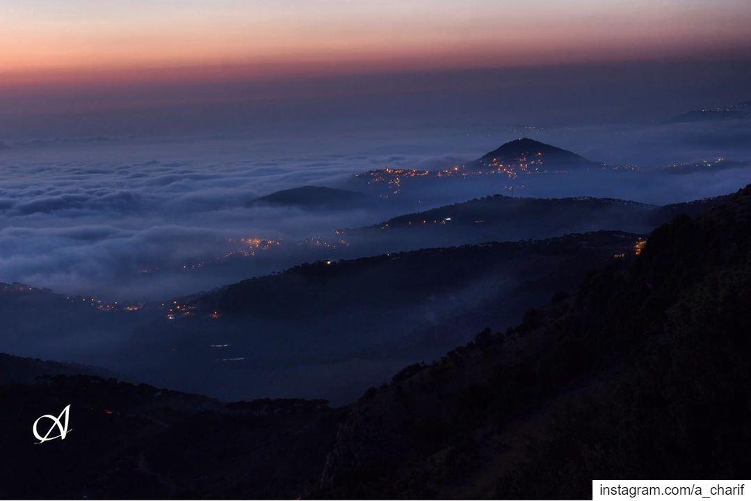 Mist over south sunset mist sky cloud fog lights nature landscape... (Jezzîne, Al Janub, Lebanon)
