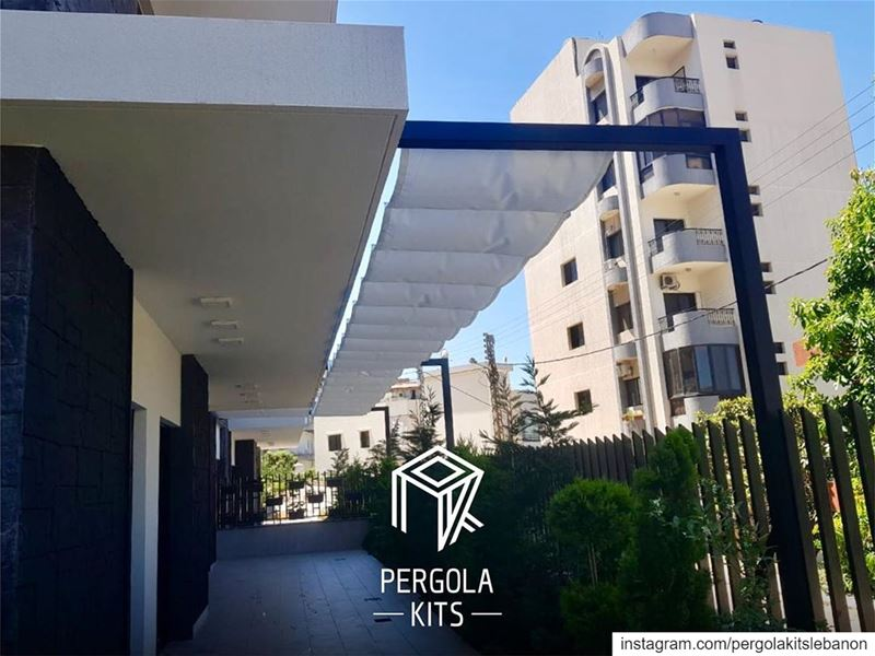 Attached Steel Pergola with Wave Shades Roofing. PergolakItsLebanon in... (Sawfar, Mont-Liban, Lebanon)