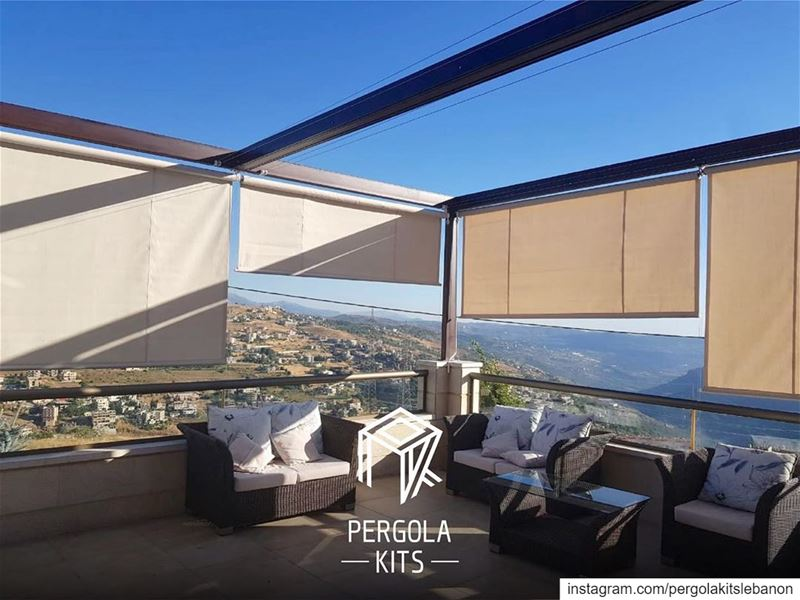 Minimal Steel Pergola with Wave Shades Roofing with Sides Roller Shades. ... (Sawfar, Mont-Liban, Lebanon)