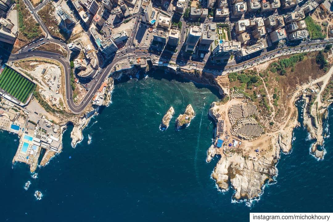 B E I R U T ❤..... Lebanon fromwhereidrone AboveLebanon ... (Rouche Rocks)