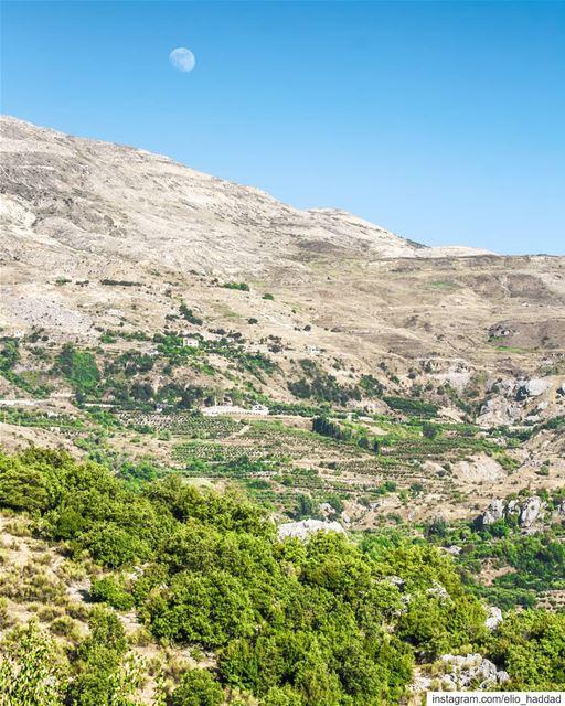 Morning 🌕 Lebanon Baskinta livelovebaskinta morning moon mountain ... (Baskinta, Lebanon)
