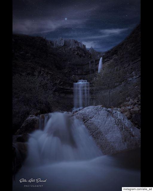 The best way to spend the night ✨ waterfall river nature night ... (Faraya, Mont-Liban, Lebanon)