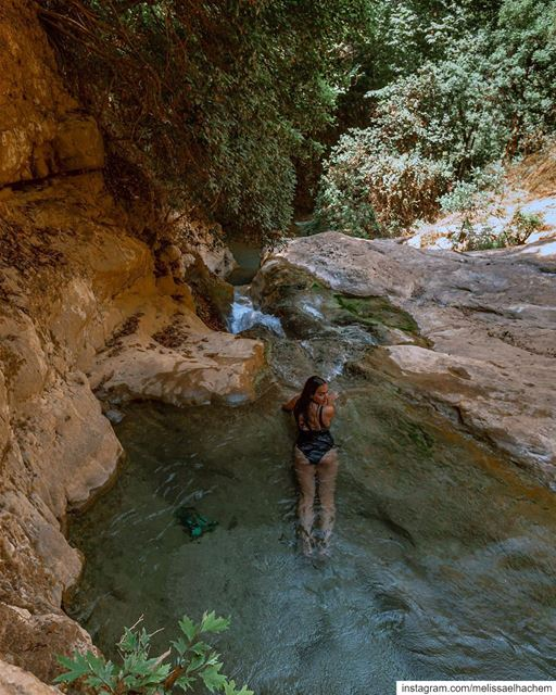 Found my own natural pool at the end of our hiking trail; will be staying... (Lebanon)