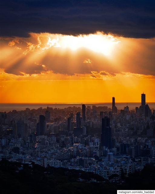 Beirut 🇱🇧 Lebanon Beirut Sunset Sun Sky City Buildings Clouds ... (Beirut, Lebanon)