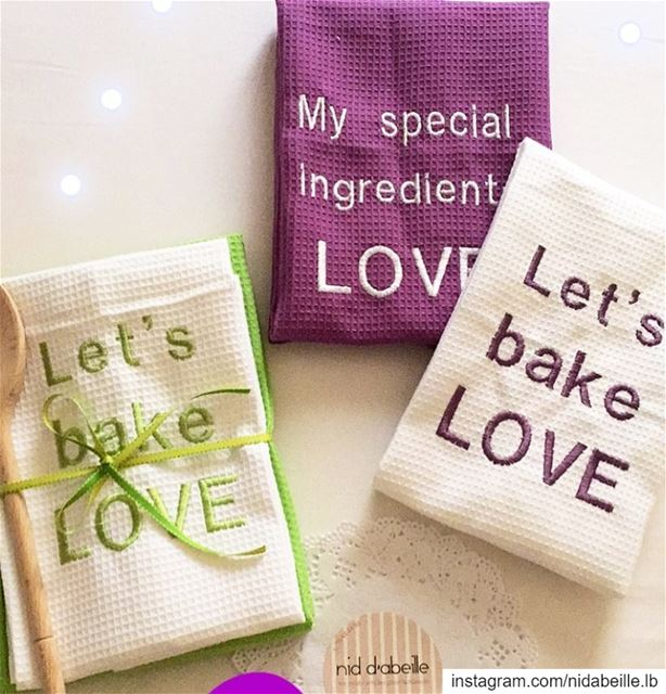 Let s bake LOVE 💜 kitchen towels🏡 Write it on fabric by nid d'abeille ...