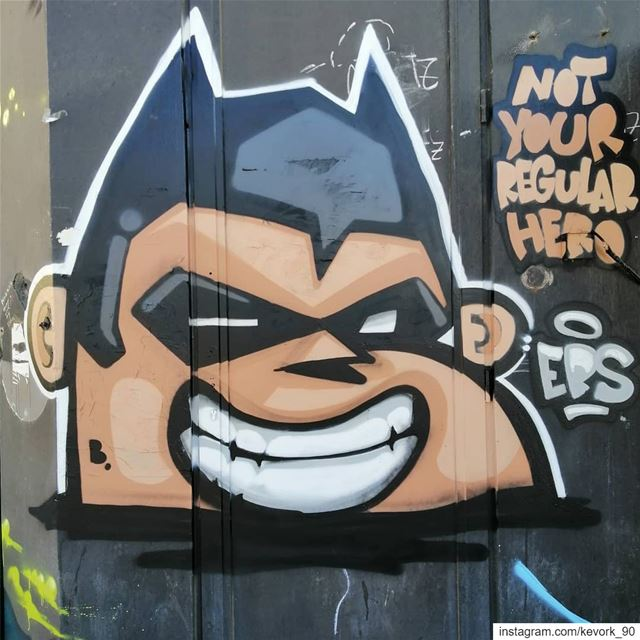 Not your regular hero... graffiti  streetartbeirut  streetart ... (Beirut, Lebanon)