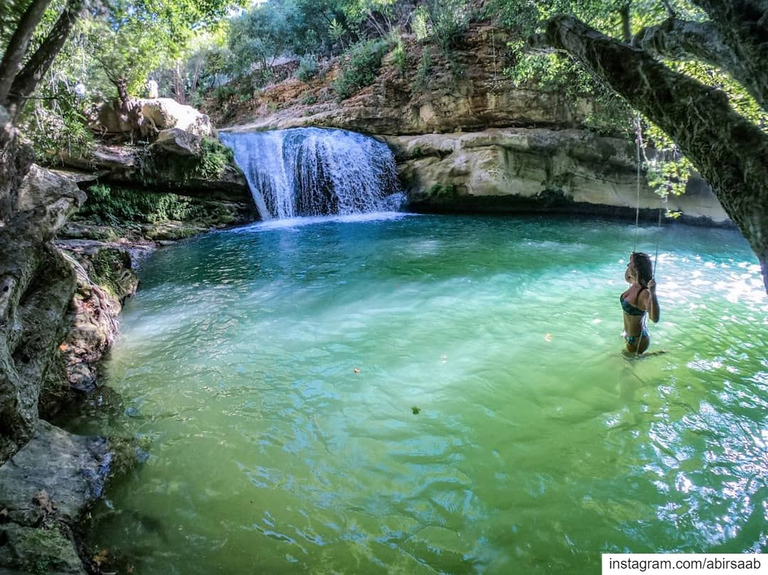 Happiness recipe?? A waterfall.. a rope swing.. & a dip in this natural... (Serjbel)