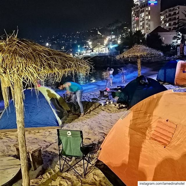 ⛺🌊 Beach camp last night at the  JulyFusion event @lamedinahotel  jounieh... (Lamedina Hotel, Beach Club & Resort)