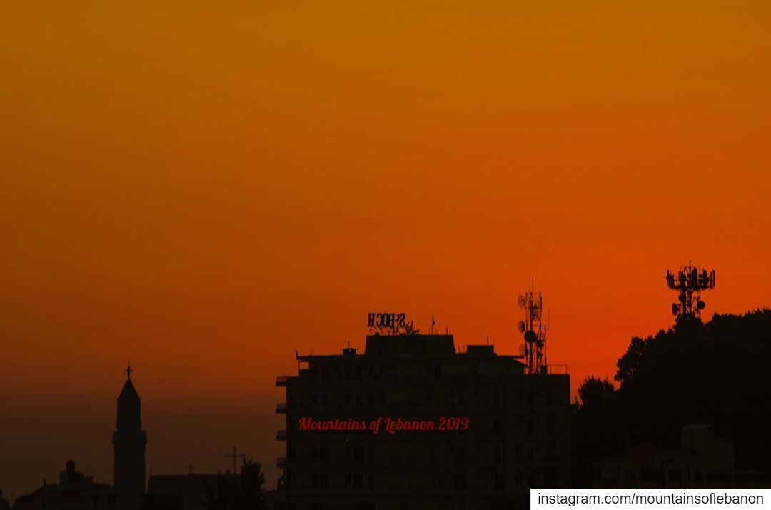 Summer sunset...it is not a mirror image of the hotel name, it is seen... (Rayfun, Mont-Liban, Lebanon)