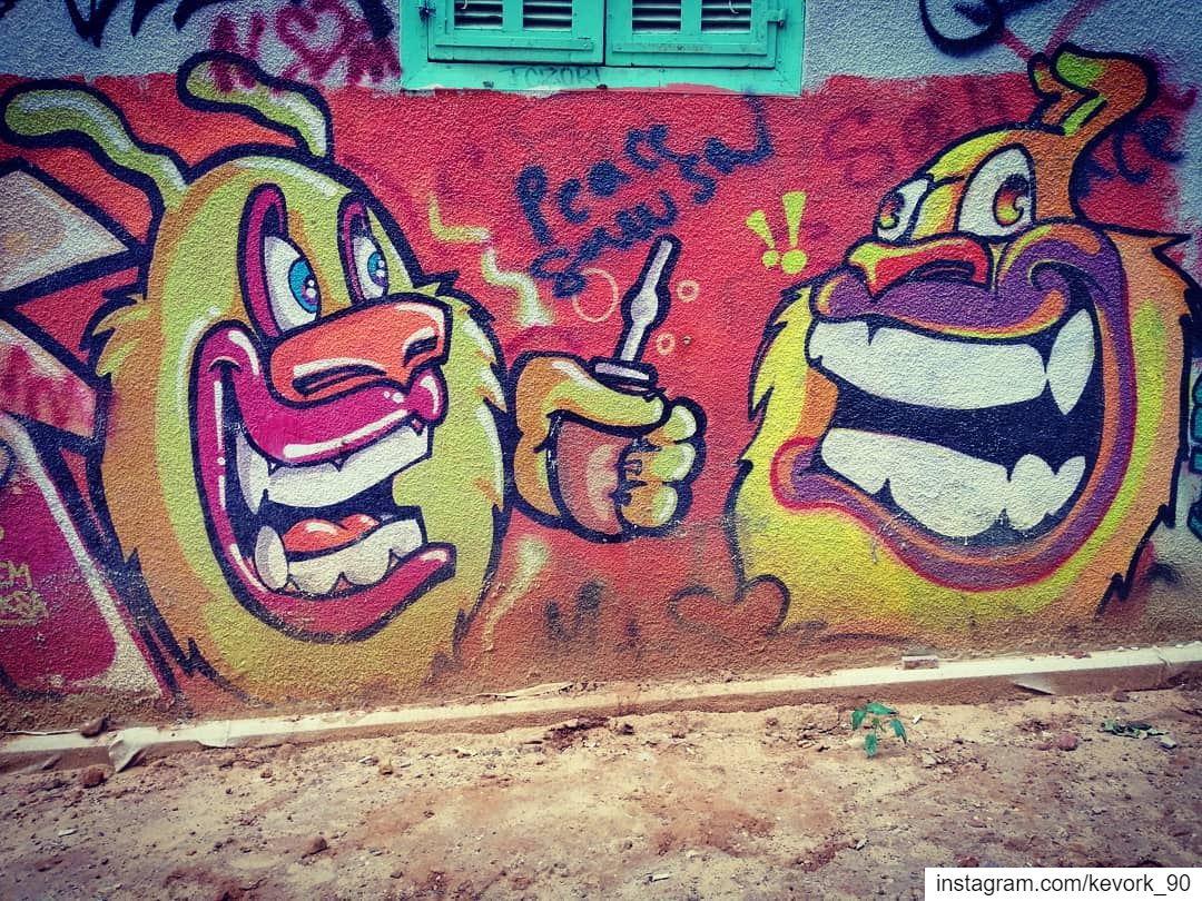 Drinking mate 🤔?... graffiti streetartbeirut outdoor lebanon ... (Beirut, Lebanon)