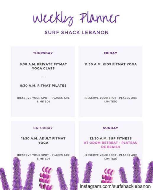 ¶This Week's Schedule - August 8 to August 11:-Classes:PILATES w/ Sabina... (Surf Shack Lebanon)