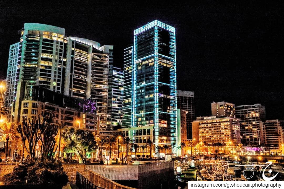 As the sky goes darker, the beautiful lights of Beirut lighten up the...